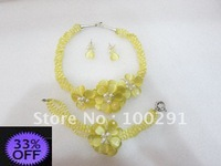 ###33% OFF!! hand knot shell beads yellow flower necklace/bracelet /earring set/