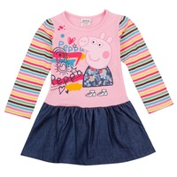 FREE SHIPPING H4235# Nova Kids wear girls embroidery lovely cartoon peppa pig Children clothing cotton long sleeve dresses