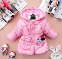 2013 New Winter cotton Girls Children's coat Minnie design the dim thick coat lovely princess coat 4pcs/lot Fress shipping