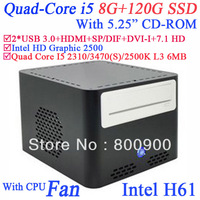 """micro pc center 8G RAM 120G SSD with 5.25"""" CD-ROM Intel Quad Core i5 2310 3470 2500K 3470S 2.9Ghz-3.4Ghz Intel HD Graphic 2500"""