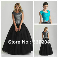 Hot Sale Modest Appliques Blue Black Tulle Ball Gown Prom Dress With Cap Sleeves 2013 New Arrival Free Shipping
