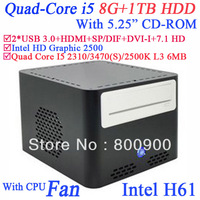 "mini media server  8G RAM 1TB HDD with 5.25"" CD-ROM Intel Quad Core i5 2310 3470 2500K 3470S 2.9Ghz-3.4Ghz Intel HD Graphic 2500"