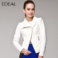 2013 autumn PU clothing women's short design white leather motorcycle jacket lace plus size mm