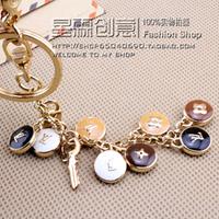 Luxury 18K gold plated key rings, fashion colorfast  bag hangs,  car key chain
