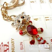 Fashion metal key chains set with Rhinestone   bag pendant car key rings high quality