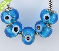 60pcs Blue Lampwork Murano Glass Evil Eye Beads Fit Charm Bracelet 14mm DIY