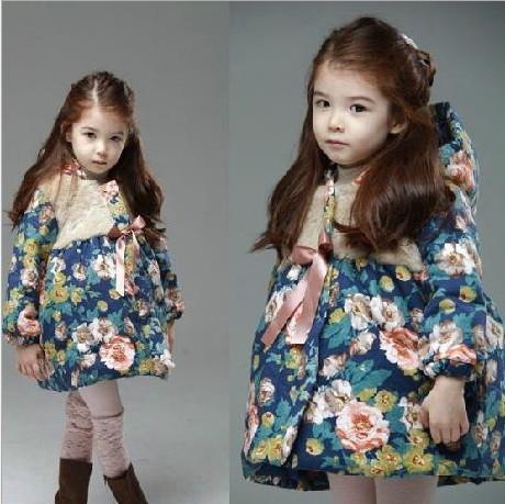 Новые девушки цветок зимние пуховики пальто