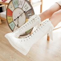 Flatbottomed 2014 high-leg boots white lacing martin boots platform tassel boots cos