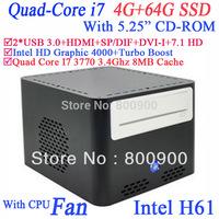 """Best mini pc 2013 with Intel Quad Core I7 3770 3.4Ghz 5.25"""" CD-ROM Intel HD Graphic 4000 H61 LGA 1155 USB 3.0 4G RAM 64G SSD"""