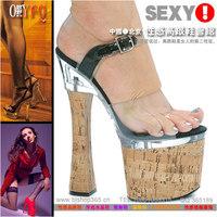 Fashion 19cm ultra high heels sexy wood grain transparent fashion star style cheongsam platform sandals a004