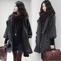 Plus size long design woolen outerwear female thickening cashmere wool coat