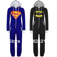 Womens Mens UNISEX  adult Super Hero Superman Batman Hooded Hoodies All In  Onesie Kigurumi Pajamas Playsuit Zip Up Sui Jumpsuit