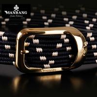 2014 Woven Silk Fibers+Genuine Leather Belts for Mens Black High Quality Man Male Strap cinto masculino Ceinture Free Ship56j05