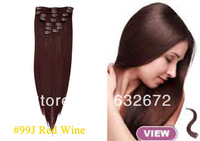 wholesale 16.18.20.22.24.26.28 inches straight Clip in human hair Extension 10pcs #99J Red Wine Color 120g Free Shipping