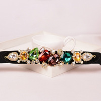 2013 New Luxury Crystal Waist Decoration Belt All-match Female Fashion Rhinestone Black Elastic Cummerbunds Girdles For Women
