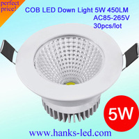 30pcs/lot 5W LED COB Spot Light High Brightness  AC 85-265V led 5w down lighgtWholesale