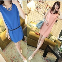 Free shipping 2013 Fashion Woman Apparel Women Straight Chiffion Casual Dresses/Long Vest Dress (Shipping Support!) FS-CQ