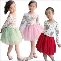 5pcs/lot Korean design rainbow striped the girls dress children dress baby dress