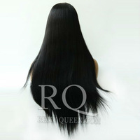 "Queen Hair Products Cheap Front Lace Wigs with Baby Hair Around 1# Jet Black Straight Brazilian 8""-24""120% Density High Quality"