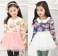 New arrival long sleeve floral patchwork children chiffon tutu dress little girls princess autumn dresses 5pcs/lot wholesale