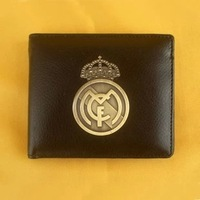 Real Madrid metal badge purse Imitation leather wallet copper logo coin purse Soccer fan handbags