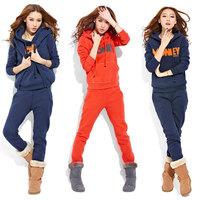 Woman Thickening sweatshirt set autumn and winter sports set  Fashion Lady fleece pullover Sportwear