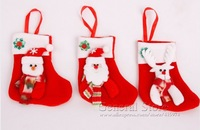 10pcs/lot Christmas Stocking,Xmas Socking,Santa Claus Sock,Christmas Gifts,Snowman and Santa and Reindeer Pattern GT237