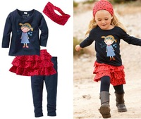 free shipping!!5sets/lot autumn baby girl's cartoon headhand+t-shirt +short skirt+pants 4pieces clothes set
