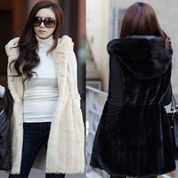 free shipping 2013 vest faux fur coat medium-long vertical stripe hooded vest female