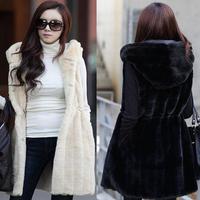 free shipping 2013 vest faux fur coat medium-long vertical stripe hooded vest female