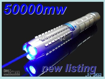 Wholesale - Combustion 50000mw Blue laser pointer 450nm of the Focusable burning torch lit cigarette + aluminium case ipping