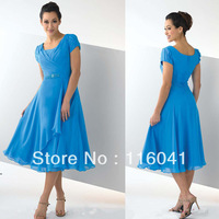 Free Shipping High Quality Short Sleeve Chiffon Pleated Beaded Waist T Length Mother of the Bride Dresses