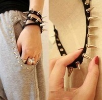 Fashion punk nails leather rivet hair bands multifunctional necklace