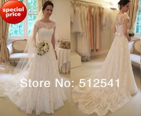 Cap Short Sleeves A Line Lace Wedding Dresses Scoop Neck With Button See Through Back Satin Sweep Train yk8P10