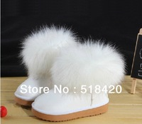 Children's  Winter fashion low cylinder fox fur Girls boots,girl waterproof  warm snow boot/Cotton boots+Free shipping