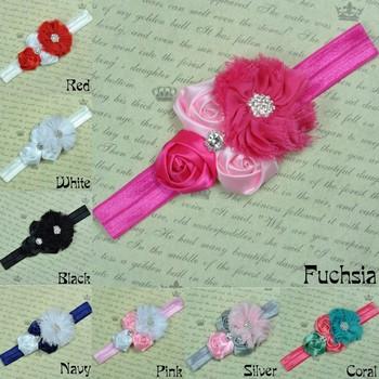 20pcs/lot NEW Rhinestone Girl Chiffon Flowers With Triple mini rose With Satin Ribbon Flower Baby Headbands