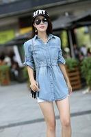 2013 new autumn women slim shirt, cotton denim COAT, lady vintage cowboy jacket, lady chaqueta, 2 color option