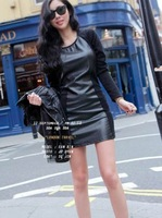 Free shipping  2013 casual dresses new fashion  Cheap Sexy & Fashionable Leather Splicing Full Coverage Slim Dress----Black