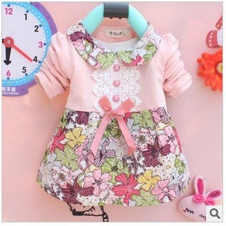 Free shipping kids clothes new 2013 autumn Girls long-sleeved t-shirt Girls baby dress kids clothing dress A168(China (Mainland))
