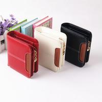 2014 women's zipper wallet female short design genuine leather vintage brief women's small wallet