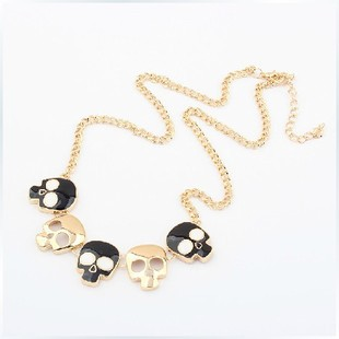 (Min order$10)Necklace Fashion Accessory,Vintage Punk Style Charms Gold Plated White and Black Skulls Necklace  XL-174