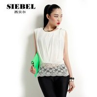 2013 spring and summer fashion sleeveless short design Women lace chiffon shirt