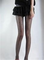Free Shipping Heart jacquard stockings fashion black socks Core-spun Yarn pantyhose dot mercerizing love