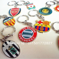 2pcs/lot,Free shipping retailing Metallic badge football fan key chain/ring with big european clubs&national teams fan souvenris