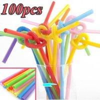 Flexible Bendable Multicolor Drinking Straws, Plastic Straws, Wholesale Party Supplies, Wedding Decor 100 pcs/lot