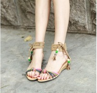 2013 Hot Sale Free Shipping Women's Plus Size Cross Beads Design Lace-up Sandals Ochre  CD13040509