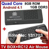 Hot MK808B Google Android 4.2 TV BOX Dual Core RK3066 Cortex A9 MK808 Bluetooth Version and Free RC12 Air Mouse 1GB RAM 8GB ROM
