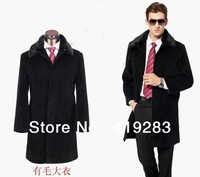 New Style Men Winter Long Coat With Fur Collar Fashion Jacket Blazer size S-4XL