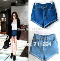 Women's Girls Blue Vintage Retro High Waist Crimping Pants Jeans Denim Shorts Size S M L XL