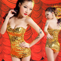 Fashion paillette sexy one piece female singer costumes jazz dance clothes ds costume